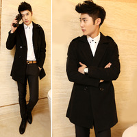 2014 New Arrival Korea Style Thicken Cotton Mens Windbreaker Upscale casual double-breasted wool coat long coat