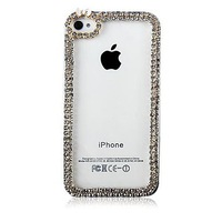 Frame with Diamond Pattern Transparent Plastic Hard Phone Cases for apple iphone 4 4s 5 5s 5c  3D Rhinestone Cell Phones Cases
