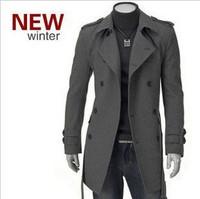2014 New Arrival Korea Style Thicken Cotton Mens Windbreaker Influx of casual men's woolen coat long double-breasted coat badges