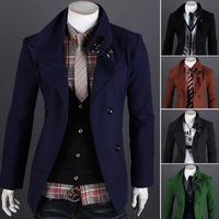 2014 New Arrival Korea Style Thicken Cotton Mens Windbreaker Short double-breasted wool coat fashion casual woolen coat tide