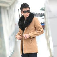 2014 New Arrival Korea Style Thicken Cotton Mens Windbreaker Korean woolen coat jacket Slim England