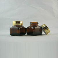 High quality  15G amber   glass  Jar,Eyeshadow  cream containers ,makeup bottle with aluminum cap