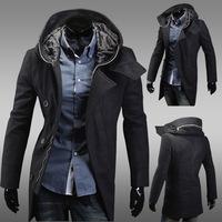2014 New Arrival Korea Style Thicken Cotton Mens WindbreakerSlim woolen hooded windbreaker jacket tide  wool coat
