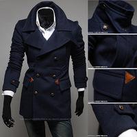 2014 New Arrival Korea Style Thicken Cotton Mens Windbreaker European style business casual wool coat double  windbreaker jacket