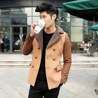 2014 New Arrival Korea Style Thicken Cotton Mens WindbreakerTide fashion woolen coat jacket Slim casual jacket lamb wool