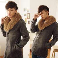 2014 New Arrival Korea Style Thicken Cotton Mens Windbreaker Nagymaros collar single-breasted coat fashion plus velvet warm coat