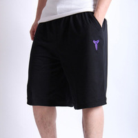 Black Manba Kobe 100% Cotton High Quality Basketball Shorts Black Grey Basketball Big Short Shorts Sportwear For Men