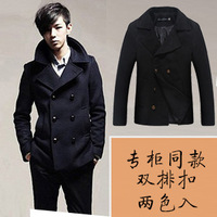 2014 New Arrival Korea Style Thicken Cotton Mens Windbreaker Double-breasted wool coat jacket Korean version of the coat
