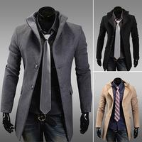 2014 New Arrival Korea Style Thicken Cotton Mens Windbreaker Fashion Slim single-breasted coat woolen coat