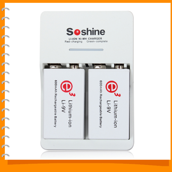Soshine SC-V1(II) Portable LI ION NI MH Battery Charger + 2pcs 600mAh 9V Lithium-ion Rechargeable Battery for Microphone etc(China (Mainland))