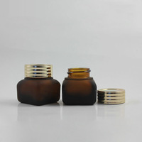 High quality  15G amber  frosted glass  cream Jar , brown  cream glass containers  ,cosmetic glass bottle