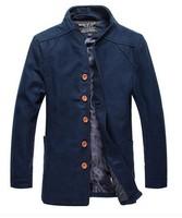 2014 New Arrival Korea Style Thicken Cotton Mens Windbreaker Slim tide collar single-breasted wool coat woolen coat