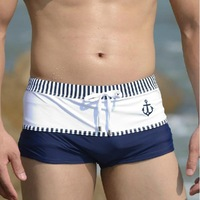 Masculino Real Sungas 2014 New Male Swimming Trunks Boxer Trunk Color Block Decoration Lacing Low-waist Sexy patchwork Style
