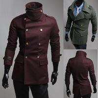 2014 New Arrival Korea Style Thicken Cotton Mens WindbreakerMen's Double-breasted woolen coat lapel badges big men wool coat