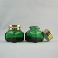 High quality  15G green glass  cream Jar,Eyeshadow  cream glass containers ,makeup bottle with aluminum cap