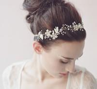 Luxury Bridal Rhinestone Headband Pearls Crystal Wedding Headband For Bride Headpiece Hair Jewelry Accessories WIGO0279