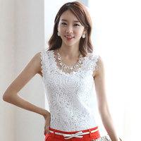 New S-XXXL sheer blouses shirts body autumn 2014 new fashion plus size tops women's work wear lace ladies sexy sleeveless clothe