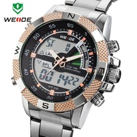 2014 Original WEIDEI Watches Men LED Luminous Analog Digital Dual Time Display Date Week Alarm 3ATM Stainless Steel Wristwatch