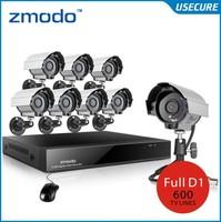 Zmodo 8pcs 600TVL IR Weatherproof video Surveillance camera system 8ch cctv D1 dvr Recorder dvr kit Mobile Phone+Free shpping!