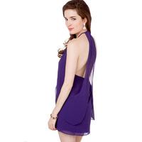 2014 new fashion Elegant purple chiffon racerback cutout on both sides chiffon slim one-piece dress haoudoyi