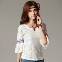 National 2014 trend women's patchwork lace three quarter sleeve t-shirt female top lace shirt cute