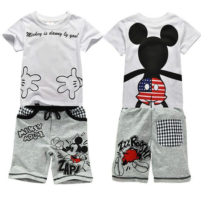 clearance 2014 baby boy Mickey set baby girl minne cotton short sleeve T-shirt + tracksuit pants boys girl clothes set(China (Mainland))