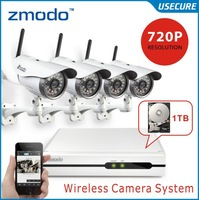 Zmodo CCTV 4CH wireless night vision video surveillance ip wifi camera system 4ch NVR recorder kit with 1tb hdd+Free Shipping