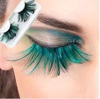 10 pairs color mix fashion artical eyelashes masquerade exaggerated eyelashes feather eyelashes  Free Shipping
