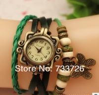 Retro fashion watches,Braided leather bracelet watch,Butterfly Snap Fasteners watch