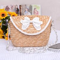 New fashion handbag women's 2014 bow cutout rattan beach summer bags liz lisa sweet girl tour messenger straw bag change pocket