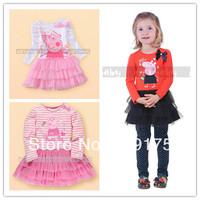 Retail NEW 2014 Peppa pig girl's dress children's spring summer tutu dress kid peppa pig princess dress girl long sleeve dress