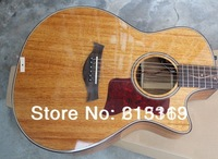 2014 New Arrival Spruce Solid Burlywood Taylor 6 Strings Electric Acoustic Guitar With EQ Pickups Free Shipping