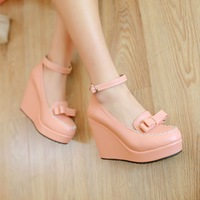 Sweet bow ultra high heels single shoes two ways wedges platform gentlewomen spring new arrival female shoes