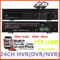 Built in 4TB new p2p Video Surveillance Security H.264 DVR NVR HVR 24ch CCTV recorder 24Channels w/ audio alarm HDMI plug&play
