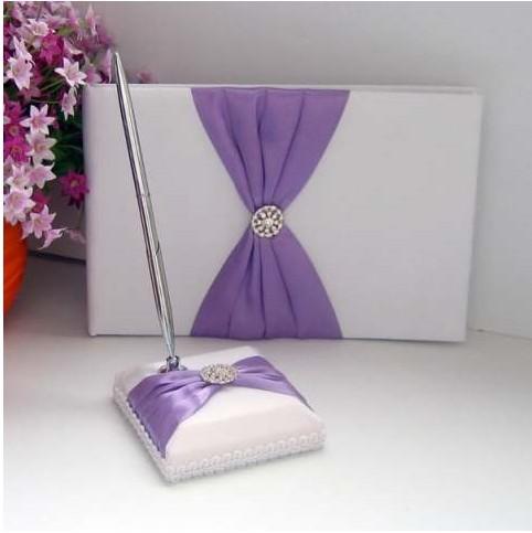 Free ShippingWedding Favors Wedding Party light purple bow rhinestone design Wedding Guest Books & Pen Sets(2pcs)(China (Mainland))