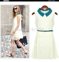 High quality 2014 New Women's casual solid Chiffon sleeveless off shoulder A-line summer dress---Belt as gift