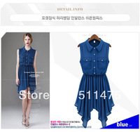 High quality 2014 new women's chiffon sleeveless turn down collar draped Asymmetrical summer dress, fir for office lady