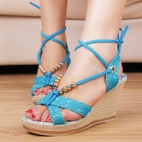 2014 Women New Fashion Beaded Lace Slope with Open-toed Sandals High-heeled Solid Waterproof Women Shoes 0315U