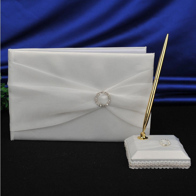 Free Shipping Wedding Favors Wedding Party white ellipse hollow out rhinestone design Wedding Guest Books & Pen Sets (2pcs)(China (Mainland))