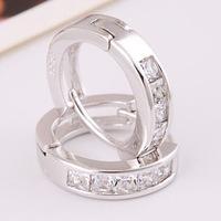 The Korean fashion popular the zirconium Umbilicaria buckle AAA zircon inlaid jewelry wholesale Zircon earrings