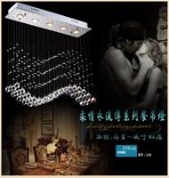 Encryption pendant light bar k9 crystal lamp rectangle wave pendant led crystal lamp