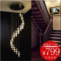 Modern brief fashion transparent crystal block long pendant light hybrid-type stair lighting 6107d