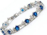 Wholesale cheap Blue Cubic Zirconia Sapphire 18KWGP Crystal Link Clasp Bracelet / Free Shipping