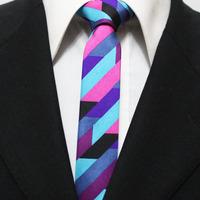 Mens Novelty Stripe Neck Ties For Men Skinny Gents Fashion Fuschia Sky Blue Purple Black Neckties For Man 5CM F5-O-5