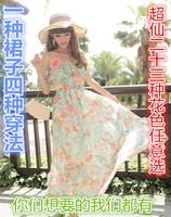 Summer Big Flower Printed Maix Long Party Dresses Women's Vintage Bohemian Style Ankle-Length Chiffon Long Dress 39/E