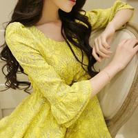 6995 2014 spring and summer three quarter sleeve plus size chiffon one-piece dress women's