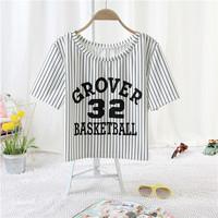 1172 HARAJUKU ayumi letter baseball stripe personalized sports short design stripe print letter
