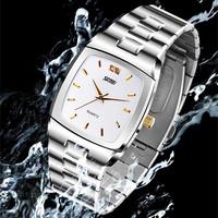 Brand Classic Square dial Europe style man gift luxury wristwatch, men sports waterproof steel strap  MIYOTA quartz watch
