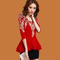 6981 2014 spring elegant women's plus size slim hip long-sleeve basic one-piece dress