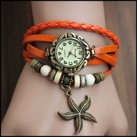 Fashion Knitted bracelet casual watch vintage cowhide table decoration genuine leather pendant women's Dress Watches